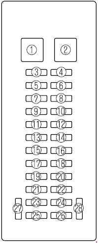 '99-'06 Mazda MPV Fuse Box Diagram