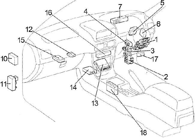 1995-2002 Toyota Corolla (E110) Fuse Box Diagram » Fuse