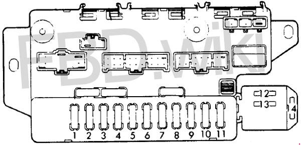 1987-1991 Honda Prelude 3 Fuse Box Diagram