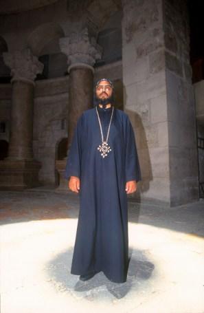 Israel, Jerusalén, Santo Sepulcro, Sacerdote Copto, retrato