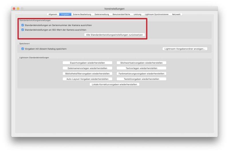 Dialog Voreinstellungen > Vorgaben > Standardentwicklungseinstellungen für Seriennummer und ISO-Wert