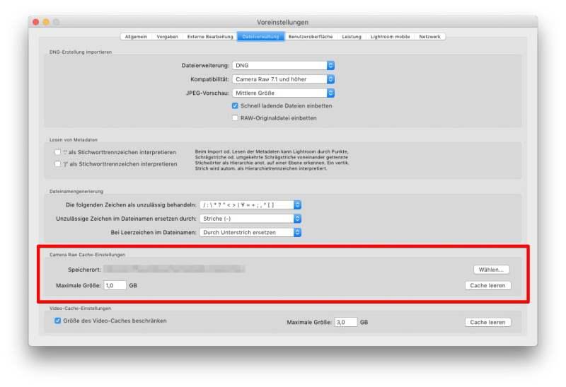 Voreinstellungen - Tab Dateiverwaltung - Highlight auf den Camera Raw Cache-Einstellungen