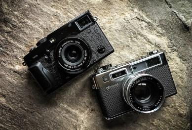 Fujifilm X-Pro2 (øverst) lægger sig design- og håndteringsmæssigt op af en rangefinderklassiker som Yashica Electro 35 fra 1966.
