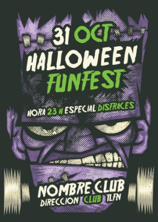 Tarjeta Halloween. Monstruo Frankenstein
