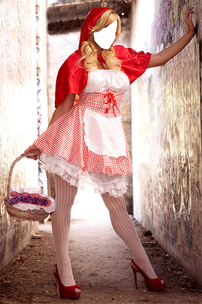 Fotomontaje Caperucita Roja Sexy. Fotomontajes de Cuento.