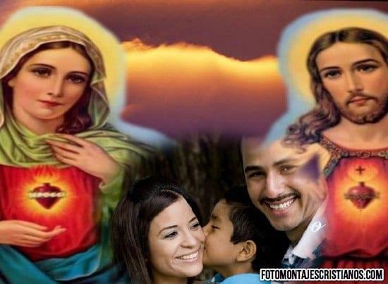 fotomontaje con la virgen de guadalupe y jesus