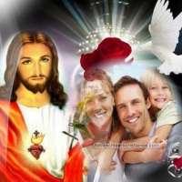Fotomontaje junto a Jesús con Palomas y Rosas