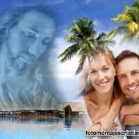 Fotomontaje de Jesús en paisaje