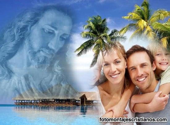 fotomontaje de jesus en paisaje