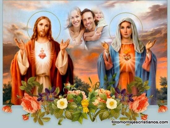 fotomontajes del sagrado corazon de jesus y la virgen maria