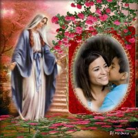 Hermoso marco cristiano para fotos con la Vírgen María