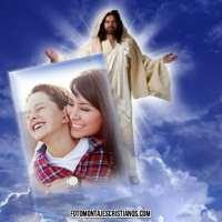 Hermoso modelo de fotomontaje cristiano con Jesús