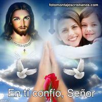 """Fotomontaje con Jesús rezando y frase """"En ti confío, Jesús"""""""