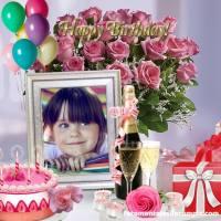 Marcos para fotos de Feliz Cumpleaños con flores