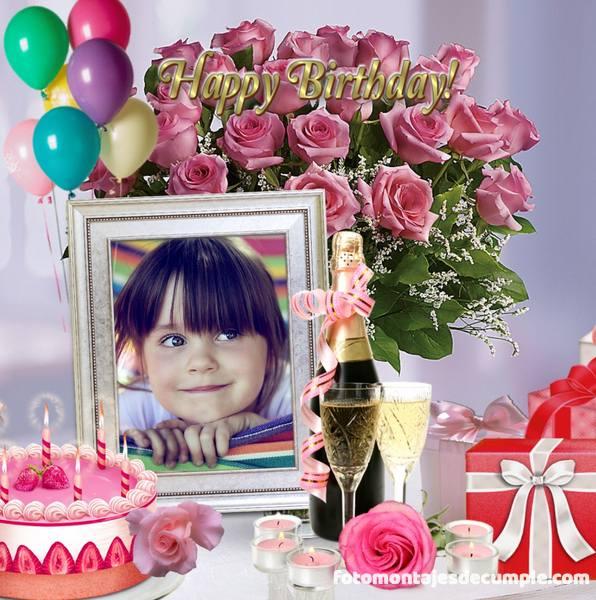 Fotomontajes de cumpleaños con flores