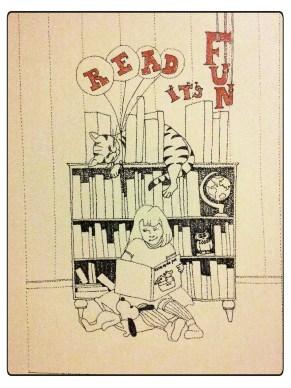 Deze tekening is voor Eva, zij doet niets liever dan schrijven en lezen.