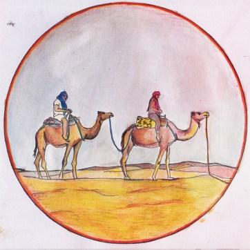 Door de woestijn, getekend met potlood.