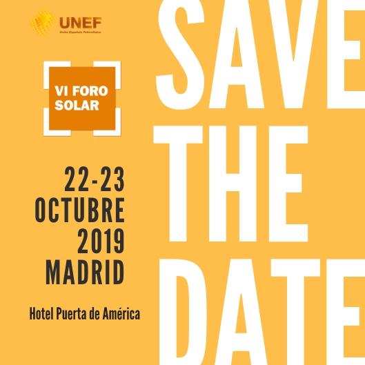 VI Foro Solar - Save the date 07-03-2019