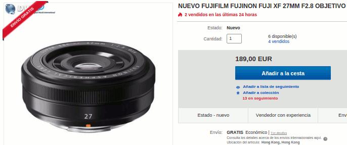 Fujinon XF 27mm f/2.8 en tienda china de eBay.
