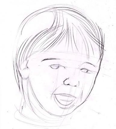 Detaljerar barnets ansikte