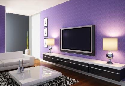 12 Desain Segar Ruang Tamu Minimalis Nuansa Ungu