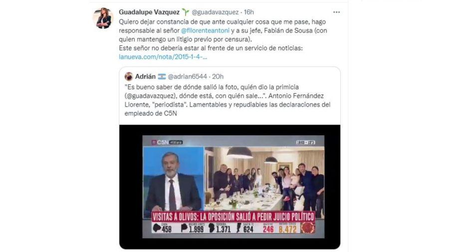 Guadalupe Vazquez respondio a Antonio Fernandez Llorente