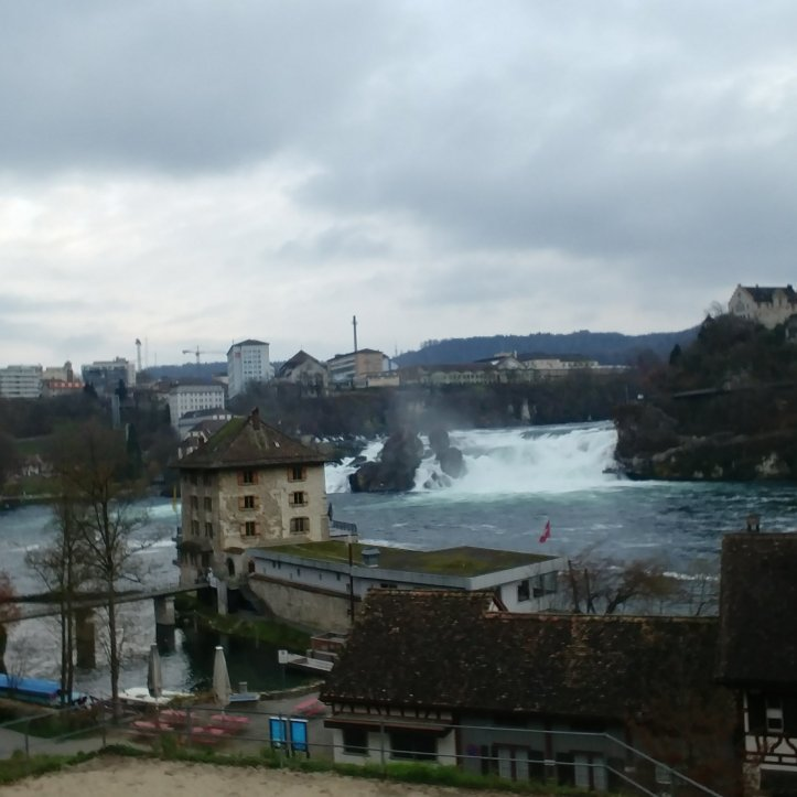 The view down from the car park to the Rheinfall