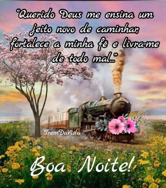 Boa noite abençoada de paz com flores e trem