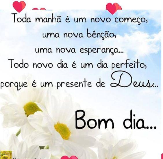 Bom dia! Seja feliz todo dia é perfeito é um presente de Deus a cada amanhecer