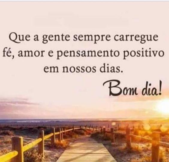 Bom dia! Vamos pensar positivo