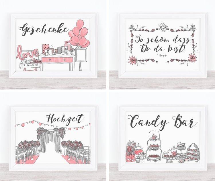 Tolle Prints 10 handgemalte Schilder fr Eure Hochzeitsdeko