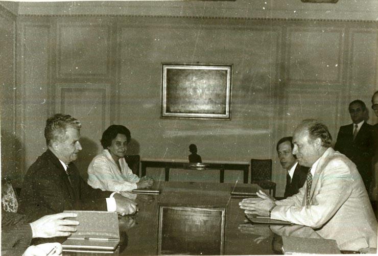 Nicolae Ceauşescu, secretar general al P.C.R., a primit delegaţia Partidului de Stânga, comuniştii din Suedia, condusă de Lars Werner, preşedintele partidului, care efectuează o vizită de prietenie în ţara noastră. La primire au participat: Virgil Cazacu, Vasile Muşat – secretari ai C.C. al P.C.R. şi Ghizela Vass – membru al C.C. al P.C.R.(22.VI.1978)