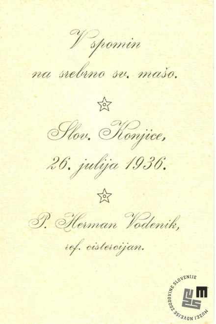 Zapis na sveti podobici p. Hermana Vodenika, v spomin na srebrno sveto mašo leta 1936. Last Nete Timer.