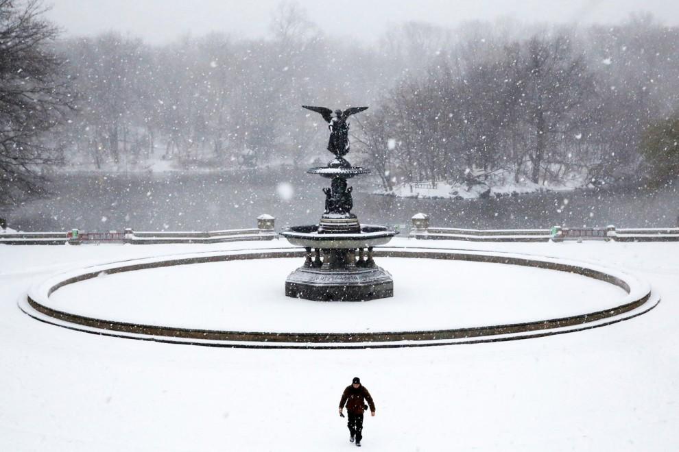 Снегопад в Центральном парке в Нью-Йорке