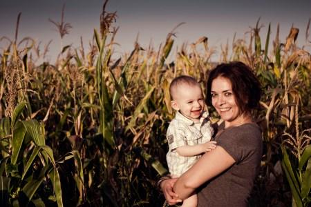 family portrait in cornfield