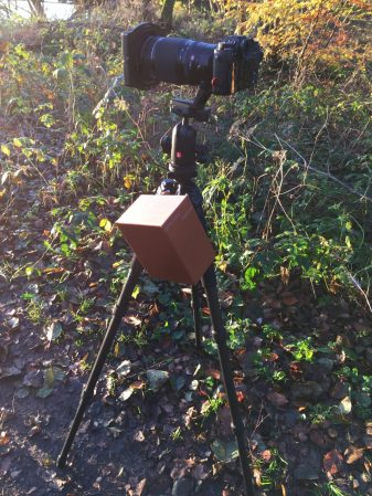 On location, the filter box can be hooked on the tripod