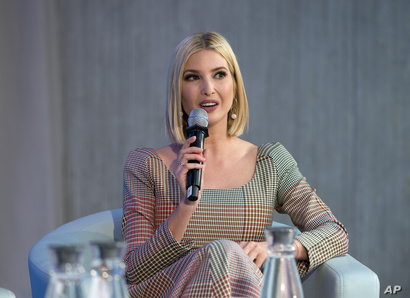 FILE - White House adviser Ivanka Trump speaks during the forum Unleashing the Potential of Women Entrepreneurs through Finance and Markets, on the sidelines of the World Bank/IMF Annual Meetings in Washington, Oct. 18, 2019.