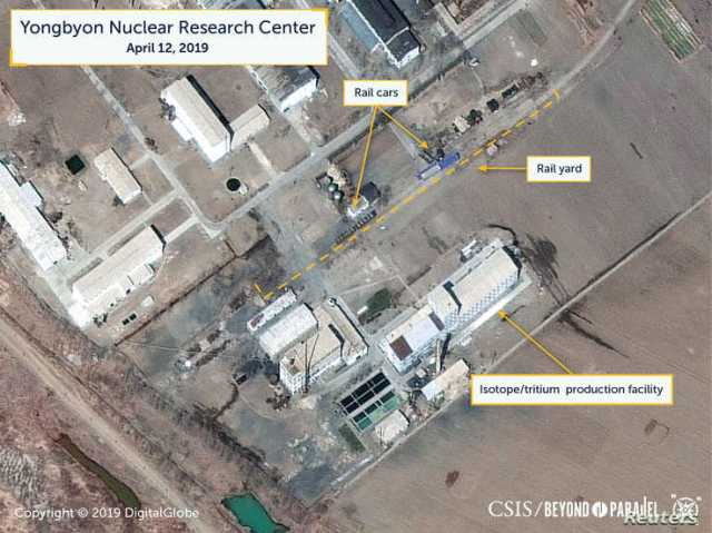 A view of what researchers of Beyond Parallel, a CSIS project, describe as specialized rail cars at the Yongbyon Nuclear Research Center in North Pyongan Province, North Korea, in this commercial satellite image taken April 12, 2019 and released Apri...