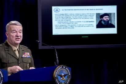 Positive identification information on Abu Bakr al-Baghdadi is displayed as U.S. Central Command Commander Marine Gen. Kenneth…