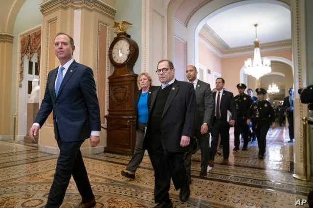 House Democratic impeachment managers arrive for the start of the impeachment trial