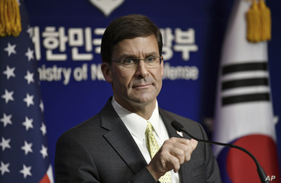 U.S. Defense Secretary Mark Esper attends a joint press conference with South Korean Defense Minister Jeong Kyeong-doo.