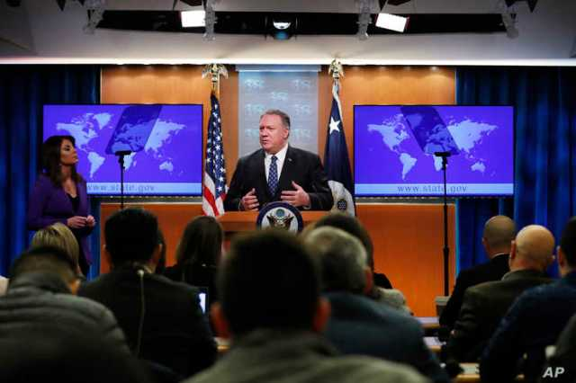 FILE - Secretary of State Mike Pompeo speaks about Iran at the State Department in Washington, Jan. 7, 2020.