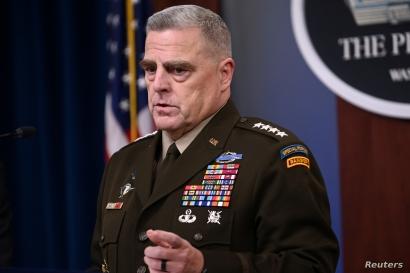 U.S. Joint Chiefs Chairman Gen. Mark Milley addresses reporters at the Pentagon in Arlington, Va., Oct. 11, 2019.