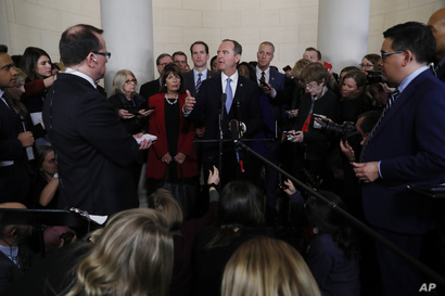 House Intelligence Committee Chairman Adam Schiff, D-Calif., talks to the media after a hearing with testimony from top U.S…