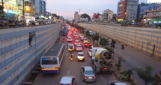 Traffic Jam under the Marathahalli bridge in the evening