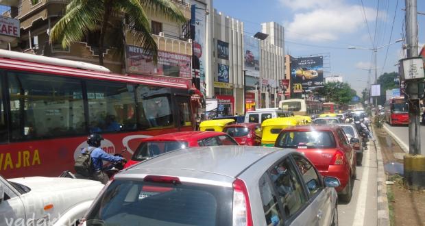 Traffic Jam on Bangalore Old Airport Road.