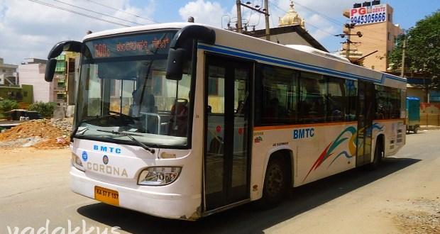 A BMTC Corona Skypak AC City bus in Bangalore