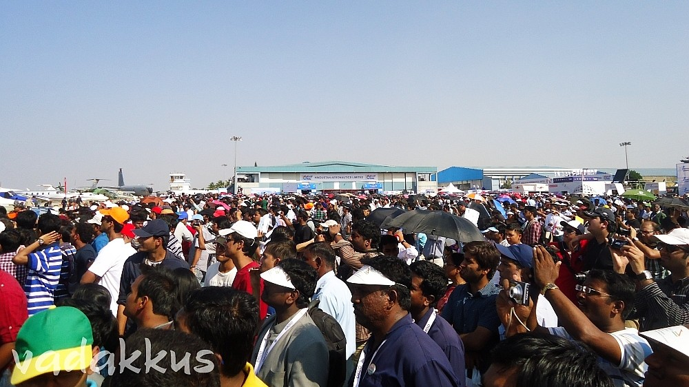 The Crowd of spectators at the Bangalore Aero India Air Show 2013