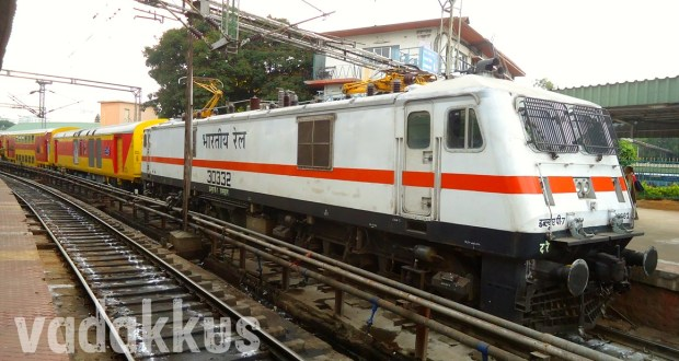 Picture of the Chenna-Bangalore Double Decker Express headed by a WAP7