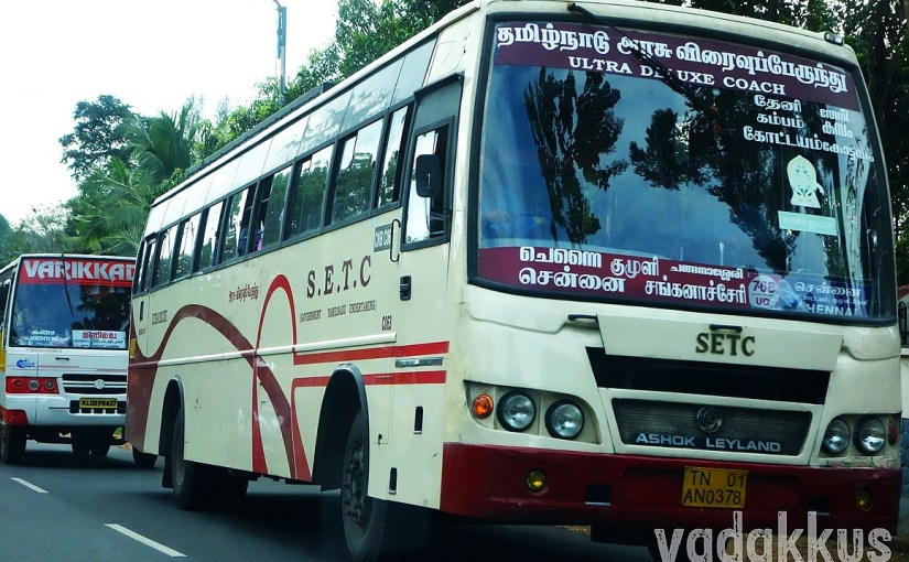 SETC Bus from Changanasserry to Chennai Seen on KK Road